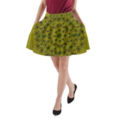 Flower Wreath In The Green Soft Yellow Nature A Line Pocket Skirt