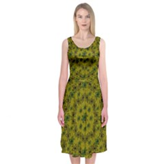 Flower Wreath In The Green Soft Yellow Nature Midi Sleeveless Dress