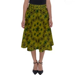 Flower Wreath In The Green Soft Yellow Nature Perfect Length Midi Skirt by pepitasart