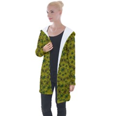 Flower Wreath In The Green Soft Yellow Nature Longline Hooded Cardigan