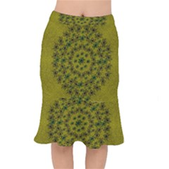 Flower Wreath In The Green Soft Yellow Nature Mermaid Skirt