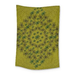 Flower Wreath In The Green Soft Yellow Nature Small Tapestry