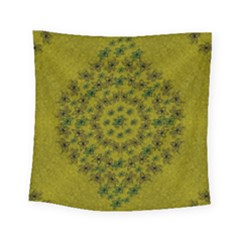 Flower Wreath In The Green Soft Yellow Nature Square Tapestry (small) by pepitasart
