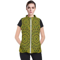 Flower Wreath In The Green Soft Yellow Nature Women s Puffer Vest by pepitasart
