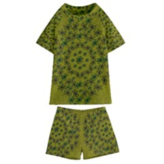 Flower Wreath In The Green Soft Yellow Nature Kids  Swim Tee And Shorts Set