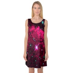 Pistol Star And Nebula Sleeveless Satin Nightdress
