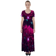 Pistol Star And Nebula High Waist Short Sleeve Maxi Dress