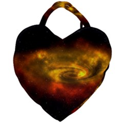 Galaxy Nebula Space Cosmos Universe Fantasy Giant Heart Shaped Tote by Jojostore