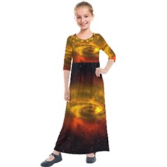 Galaxy Nebula Space Cosmos Universe Fantasy Kids  Quarter Sleeve Maxi Dress by Jojostore
