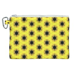 Yellow Fractal In Kaleidoscope Canvas Cosmetic Bag (xl) by Jojostore
