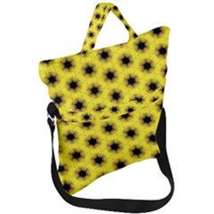 Yellow Fractal In Kaleidoscope Fold Over Handle Tote Bag by Jojostore
