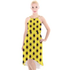 Yellow Fractal In Kaleidoscope High Low Halter Chiffon Dress