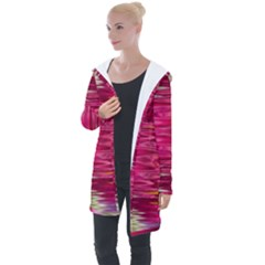 Abstract Pink Colorful Water Background Longline Hooded Cardigan by Jojostore