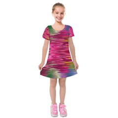 Abstract Pink Colorful Water Background Kids  Short Sleeve Velvet Dress