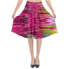 Abstract Pink Colorful Water Background Flared Midi Skirt