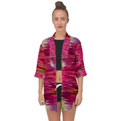 Abstract Pink Colorful Water Background Open Front Chiffon Kimono by Jojostore