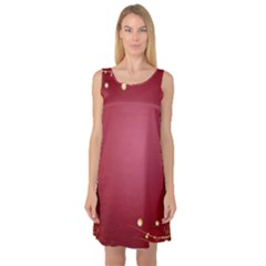 Red Background With A Pattern Sleeveless Satin Nightdress