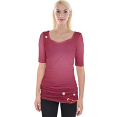 Red Background With A Pattern Wide Neckline Tee