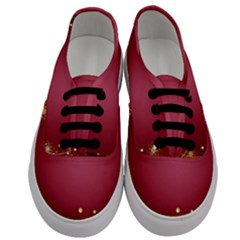 Red Background With A Pattern Men s Classic Low Top Sneakers
