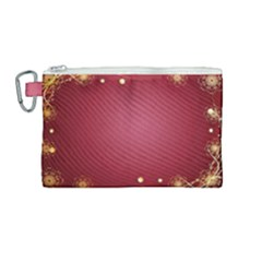 Red Background With A Pattern Canvas Cosmetic Bag (medium) by Jojostore