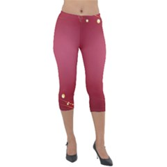 Red Background With A Pattern Lightweight Velour Capri Leggings