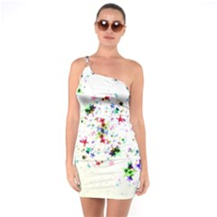 Star Structure Many Repetition One Soulder Bodycon Dress
