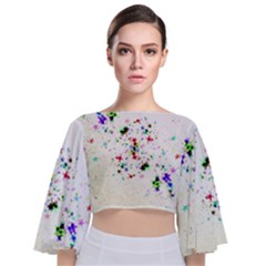 Star Structure Many Repetition Tie Back Butterfly Sleeve Chiffon Top