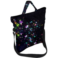 Star Structure Many Repetition Fold Over Handle Tote Bag