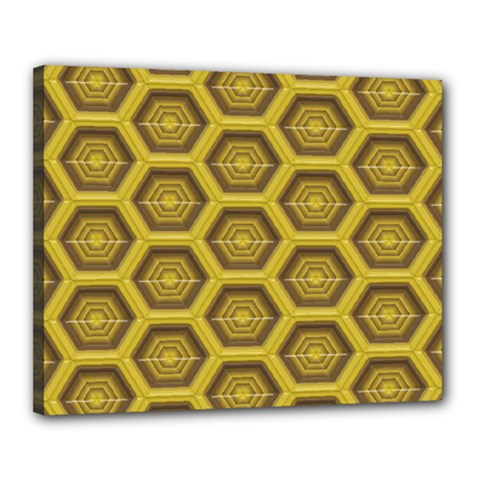 Golden 3d Hexagon Background Canvas 20  X 16  (stretched)