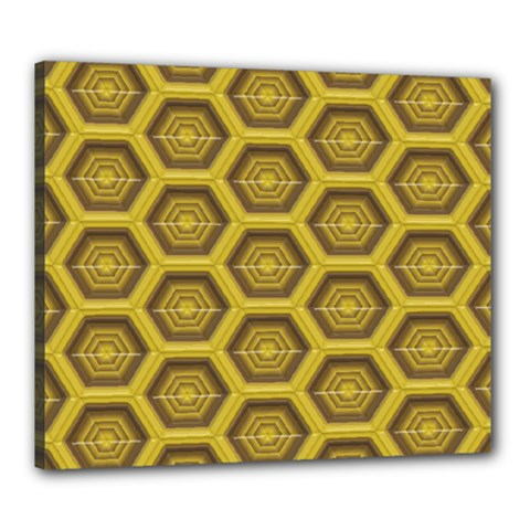 Golden 3d Hexagon Background Canvas 24  X 20  (stretched) by Jojostore