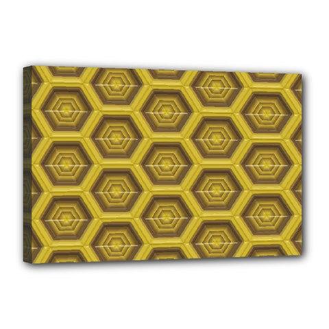 Golden 3d Hexagon Background Canvas 18  X 12  (stretched) by Jojostore