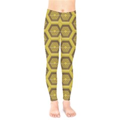 Golden 3d Hexagon Background Kids  Legging