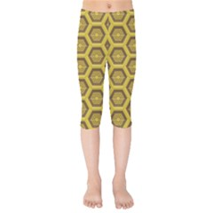 Golden 3d Hexagon Background Kids  Capri Leggings  by Jojostore