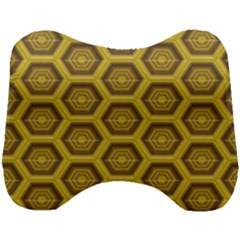 Golden 3d Hexagon Background Head Support Cushion by Jojostore