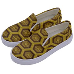 Golden 3d Hexagon Background Kids  Canvas Slip Ons by Jojostore