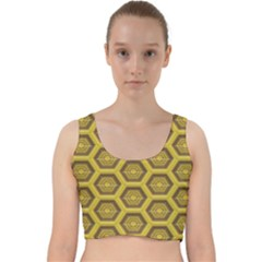 Golden 3d Hexagon Background Velvet Racer Back Crop Top by Jojostore