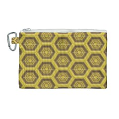 Golden 3d Hexagon Background Canvas Cosmetic Bag (large) by Jojostore