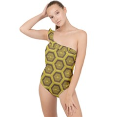 Golden 3d Hexagon Background Frilly One Shoulder Swimsuit