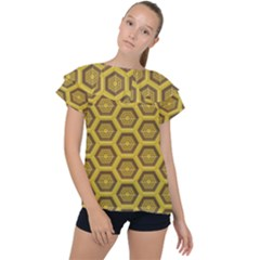 Golden 3d Hexagon Background Ruffle Collar Chiffon Blouse by Jojostore