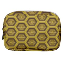 Golden 3d Hexagon Background Make Up Pouch (small) by Jojostore