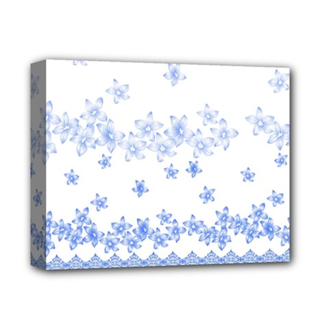Blue And White Floral Background Deluxe Canvas 14  X 11  (stretched) by Jojostore