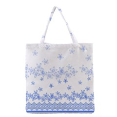 Blue And White Floral Background Grocery Tote Bag by Jojostore