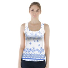 Blue And White Floral Background Racer Back Sports Top