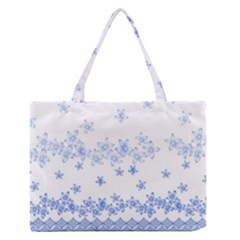 Blue And White Floral Background Zipper Medium Tote Bag by Jojostore