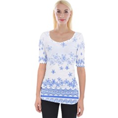 Blue And White Floral Background Wide Neckline Tee by Jojostore
