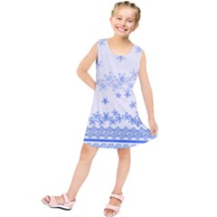 Blue And White Floral Background Kids  Tunic Dress