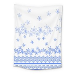 Blue And White Floral Background Medium Tapestry