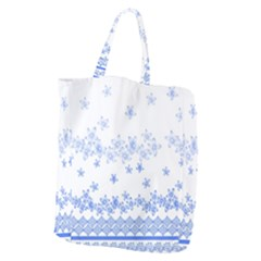 Blue And White Floral Background Giant Grocery Tote by Jojostore