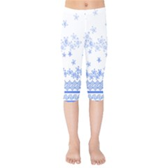 Blue And White Floral Background Kids  Capri Leggings