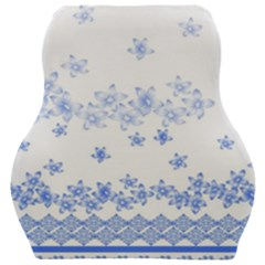 Blue And White Floral Background Car Seat Velour Cushion  by Jojostore